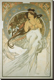 The Arts: La Musique Stretched Canvas Print by Alphonse Mucha