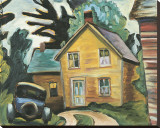 Farmhouse and Car Stretched Canvas Print by Prudence Heward