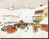 Horse Race in Winter Trykk på strukket lerret av Clarence Alphonse Gagnon