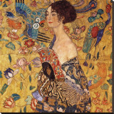 Lady with a Fan Leinwand von Gustav Klimt