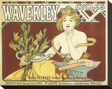 Waverley Cycles Stretched Canvas Print by Alphonse Mucha
