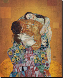 La famille Reproduction transf&#233;r&#233;e sur toile par Gustav Klimt