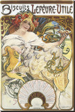 Biscuits Lefevre-Utile Stretched Canvas Print by Alphonse Mucha