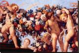 Cherubs with Garland of Flowers Lærredstryk på blindramme af Carlo Maratti