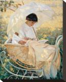 Young Mother in the Garden Reproduction sur toile tendue par Mary Cassatt