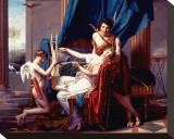 Sappho and Phaon, 1809 Stretched Canvas Print by Jacques-Louis David
