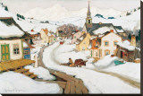 Village in the Laurentians Stretched Canvas Print by Clarence Alphonse Gagnon