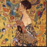 Kvinne med vifte Trykk på strukket lerret av Gustav Klimt