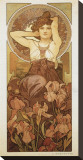 The Precious Stones: L'Amethyste Stretched Canvas Print by Alphonse Mucha