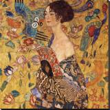 Femme à l'éventail Reproduction transférée sur toile par Gustav Klimt