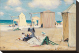 Beach at Dinard Stretched Canvas Print by Clarence Alphonse Gagnon