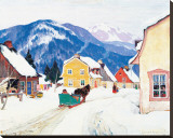 Laurentian Village Stretched Canvas Print by Clarence Alphonse Gagnon
