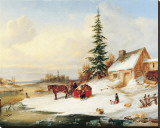 Habitants by a Frozen River Stretched Canvas Print by Cornelius Krieghoff