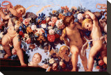 Cherubs with Garland of Flowers Lærredstryk på blindramme af Carlo Maratti
