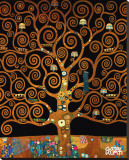 Under the Tree of Life Trykk på strukket lerret av Gustav Klimt