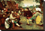 Peasant Dance Stretched Canvas Print by Pieter Bruegel the Elder