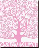 Pink Tree of Life Reproduction transférée sur toile par Gustav Klimt