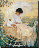 Young Mother in the Garden Reproduction transférée sur toile par Mary Cassatt