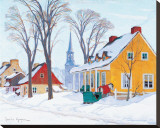 Winter Morning in Baie-St-Paul Reproduction transférée sur toile par Clarence Alphonse Gagnon