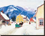 Laurentian Village Reproduction transférée sur toile par Clarence Alphonse Gagnon