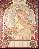 La Plume Stretched Canvas Print by Alphonse Mucha