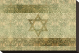 Shield of David in Hazel and Green Stretched Canvas Print