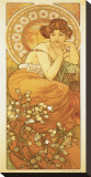 The Precious Stones: La Topaze Stretched Canvas Print by Alphonse Mucha