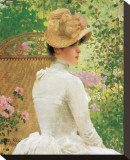 Lady in the Garden Reproduction transférée sur toile par Paul Peel