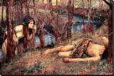 The Naiad Stretched Canvas Print by John William Waterhouse