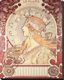 La Plume Reproducción en lienzo de la lámina por Alphonse Mucha