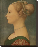 Portrait of Ignota, c.1433-1489 Stretched Canvas Print by Antonio Pollaiolo