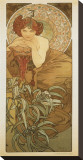 The Precious Stones: L'Emeraude Stretched Canvas Print by Alphonse Mucha
