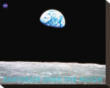 Earthrise over the Moon Stretched Canvas Print