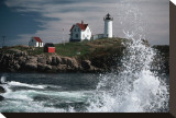 Lighthouse and Water Splash Stretched Canvas Print