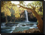 Scenic View of a Waterfall on Havasu Creek Framed Canvas Print by W. E. Garrett