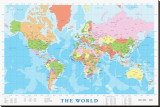 Verdenskort, på engelsk Lærredstryk på blindramme