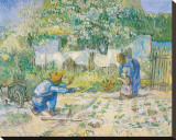 First Steps, c.1890 Stretched Canvas Print by Vincent van Gogh