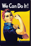 Rosie the Riveter Stretched Canvas Print by Howard Miller