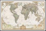 Mapa Político Mundial, Estilo Executivo Impressão montada