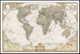 World Political Map, Executive Style Mounted Print