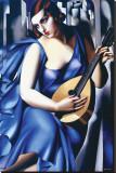 Kvinna i blått med gitarr Sträckt Canvastryck av Tamara de Lempicka