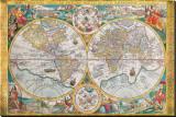 Antikt kort, Orbis Terrarum, 1636, på latin Lærredstryk på blindramme af Jean Boisseau