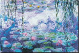 Vattenliljor Sträckt Canvastryck av Claude Monet