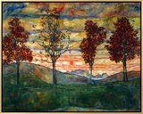 Four Trees, 1917 Framed Canvas Print by Egon Schiele