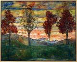 Quatro árvores, 1917 Impressão em tela emoldurada por Egon Schiele