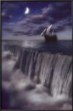 Sailboat and Waterfall at Earth's End Posters