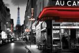 Rue Parisienne met neonletters en zicht op Eiffeltoren Print