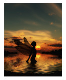 Fairy at Sunset Giclee Print by Julie Fain