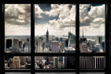 New York, fenêtre donnant sur gratte-ciels Posters