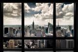 Uitzicht door raam op New York Print